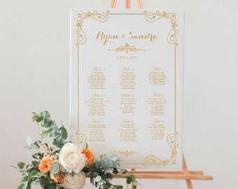 Wedding seating chart printable gold text, printable digital wedding seating plan, wedding table assignment, wedding seating assignment