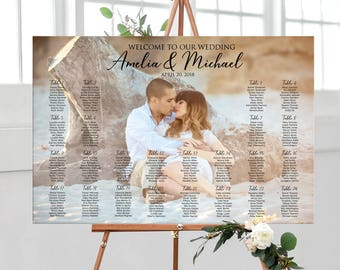 Photo seating chart, wedding seating assignment, Printable Digital sign, table assignment personalized photo seating plan, guests list