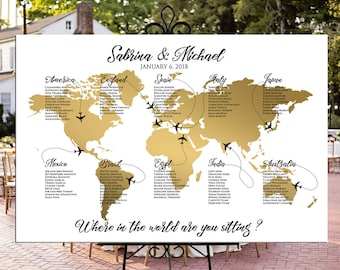 World seating chart etsy world map seating chart plane travel theme gold wedding or party printable gold world map personalized wedding seating chart digital gumiabroncs Choice Image