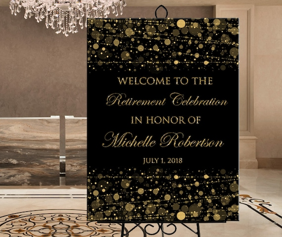 Digital custom wedding or birthday party photo welcome sign gold Retirement party photo welcome sign personalized printable gold