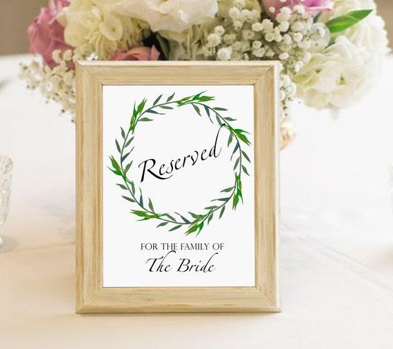 greenery wedding reserved sign Reserved for the groom wedding printable sign digital reserved sign laurel wreath reserved sign