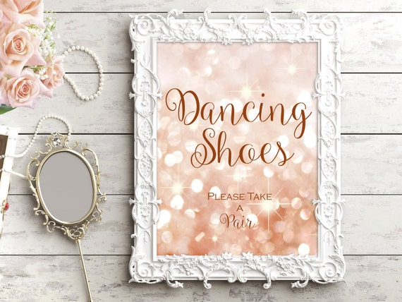 fe5cb1e97d3a Printable Dancing Shoes wedding sign. Gold and blush. Bokeh