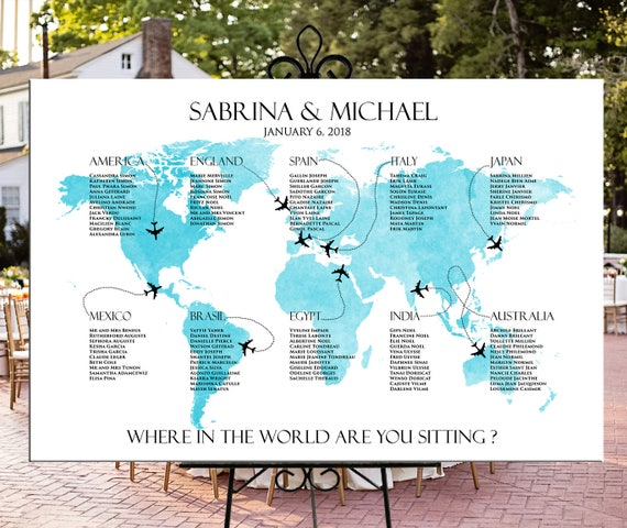 World map seating chart printable wedding or party etsy world map seating chart printable wedding or party personalized digital file travel theme destination wedding or party seating chart gumiabroncs Images