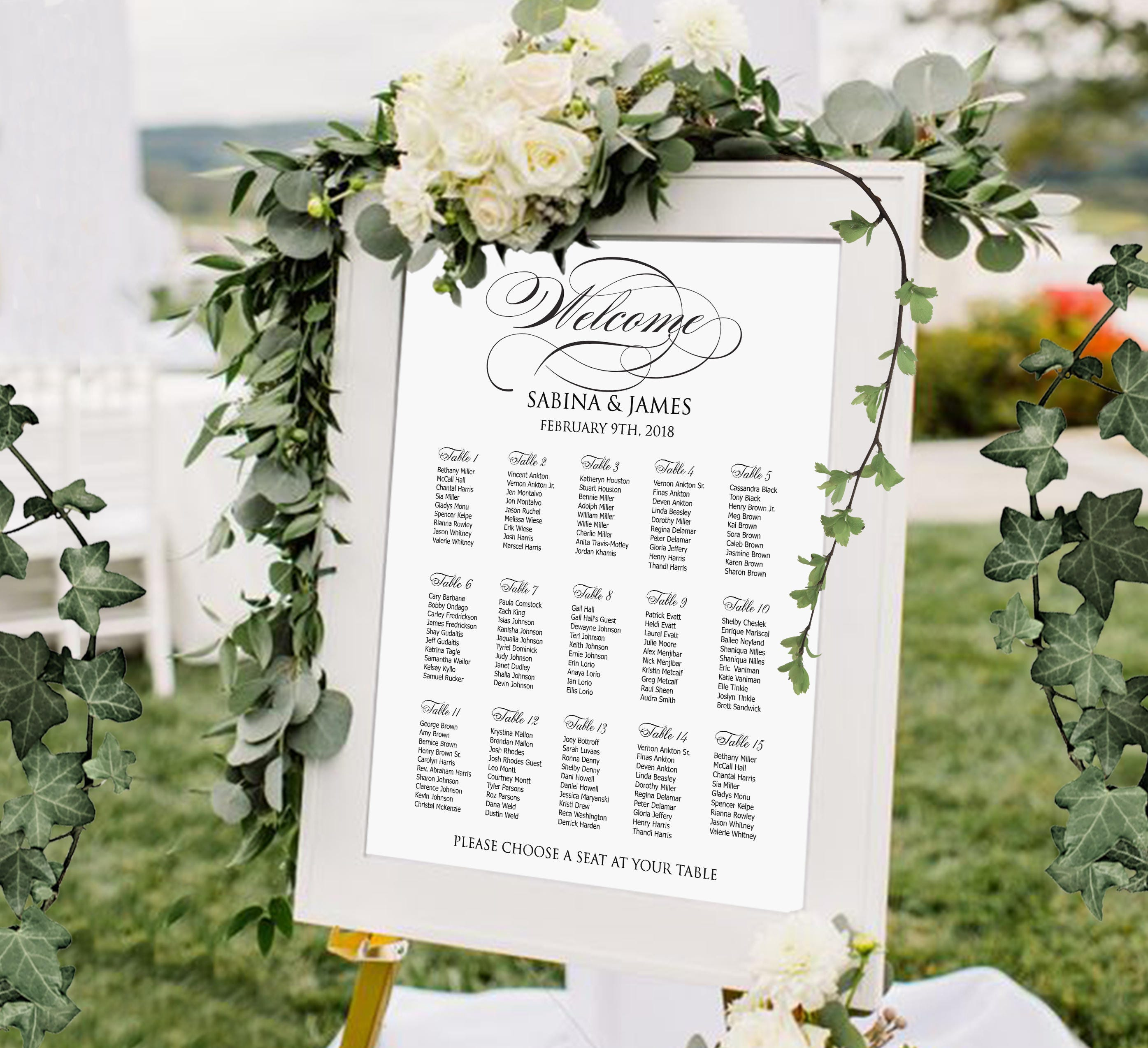 Seating Chart Wedding Printable Personalized Digital Wedding