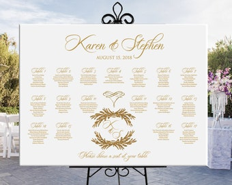 Wedding printable seating chart gold, gold text seating plan, custom wedding table assignment, wedding or birthday seating chart DIGITAL
