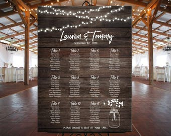 Wedding seating chart printable rustic wood with mason jar and lights, personalized barn country wedding seating chart DIGITAL table plan