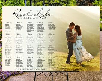 Photo seating chart, custom wedding printable digital seating chart, table seating assignment personalized photo seating plan, guests list
