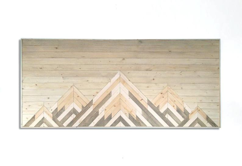 Wood Wall Art Mountain Wall Art Wood Mountain Art Wall Art Wood Wall Decor Wooden Wall Art Geometric Wall Art Twin Headboard