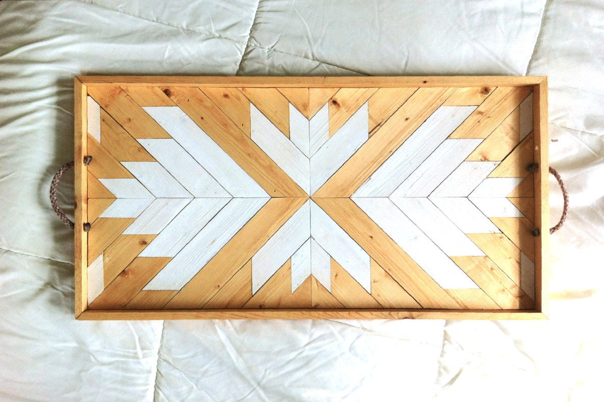 Wood Serving Tray Geometric Serving Tray Wood Breakfast | Etsy