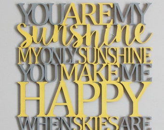 You Are My Sunshine Connected Sign Laser Cut File for Glowforge Epilog Projects Laser Cutting Download