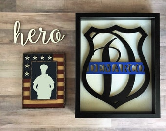 Police Monogram, Thin Blue Line, Brothers in blue, Police Badge, American Hero, Retirement gift, Personalized Badge, Sheriff Badge, Deputy