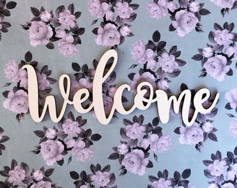 Welcome word cutout etsy welcome cutout wood welcome wreath embellishment door hanger wood craft words greeting cutout farmhouse greeting magnolia greeting m4hsunfo