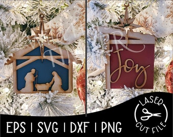 Manger Christmas Ornaments Savior Christ Holy Night Hear Him Laser SVG Cut File for Glowforge Epilog Projects Laser Cutting Download