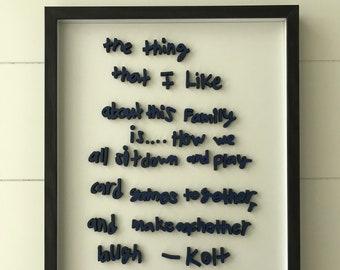 Handwritten Keepsake with Enclosed Frame,  Laser handwriting, keepsake treasures, keepsake gifts,  children's keepsake, Heirloom gift