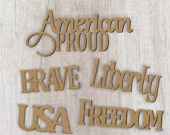 Patriotic Word Set of 5/United States of America/DIY craft cutout/Wreath Embellishments/4th of July Decoration/Proud to be an American/USA