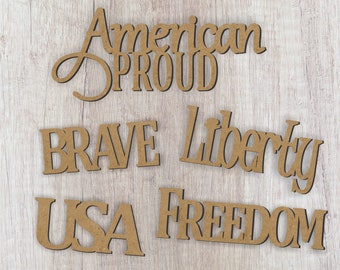 Set of 5 Word Cutouts/Brave/USA/Liberty/Freedom/American Proud/Patriotic Word cutouts/July decoration/Holiday wreath idea