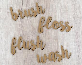 Set of 4 Cutouts/Wash/Flush/Brush/Floss/Bathroom Word cutouts/Bathroom decoration/Farmhouse Decor/Word Cutout