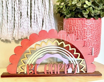 Standing Rainbow Shelf Decoration Personalized Kids Room Decor Laser SVG Cut File for Glowforge Epilog Projects Laser Cutting Download