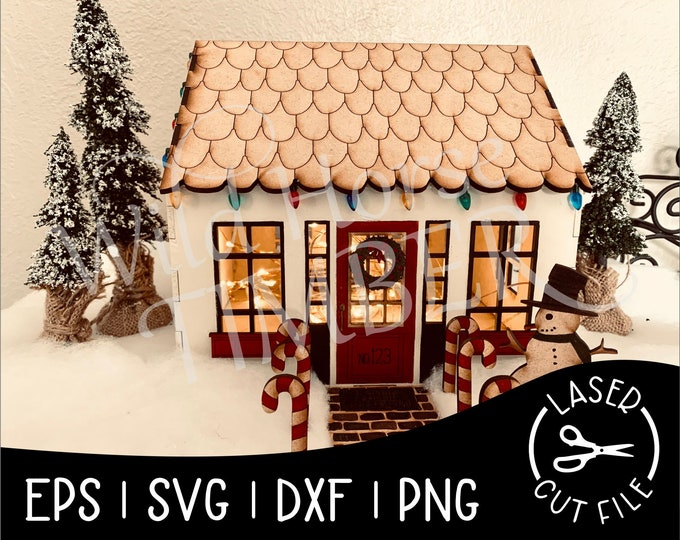 Featured listing image: Cottage Doll House Gingerbread House Wood House Miniature House Laser SVG Cut File for Glowforge Epilog Projects Laser Cutting Download