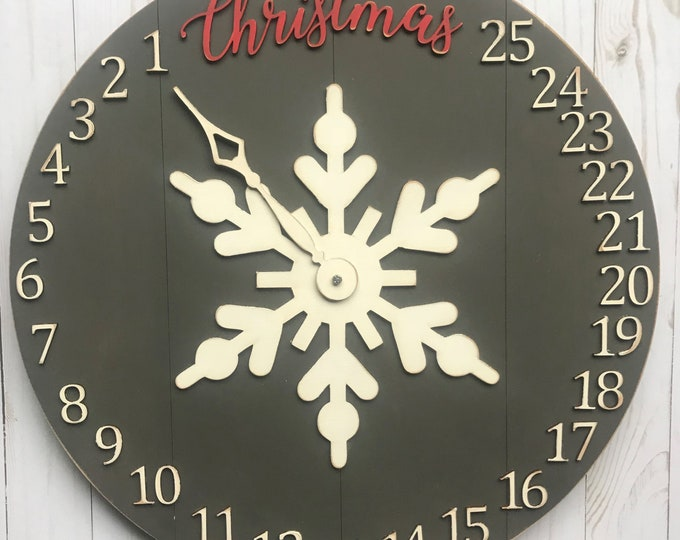Featured listing image: Christmas Countdown Clock Laser Cut File for Glowforge Epilog Projects Laser Cutting Download