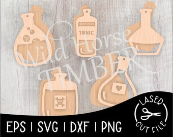 Dimensional Potion Bottle Banner Halloween Decoration Laser Cut File for Glowforge Epilog Projects Laser Cutting Download