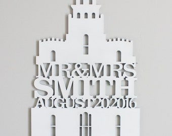 LDS LOGAN TEMPLE - Unfinished wood sign