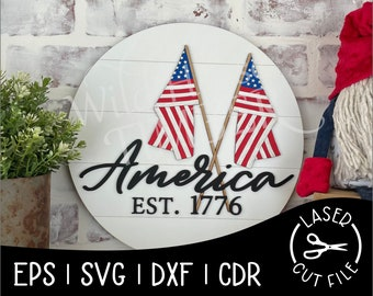 American Flags 1776 Patriotic July Independence Day USA America Signs Laser Cut File for Glowforge Epilog Projects Laser Cutting Download