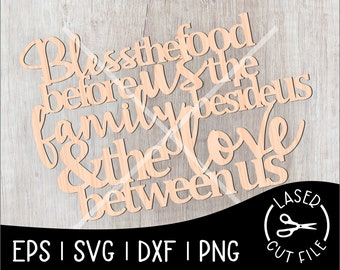Bless The Food Family And Love Connected Sign Laser Cut File for Glowforge Epilog Projects Laser Cutting Download