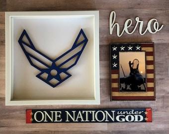 US Air Force Cutout, USA Emblem, Military Cutout, American Hero Decor, Military Wings, Air Force Hero, USA Decor, Air Force emblem,  Heroes