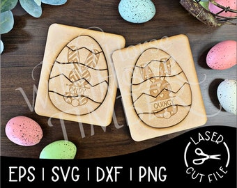 Easter Puzzles for Kids Personalized Egg Puzzle Easter Egg Hunt Laser SVG Cut File for Glowforge Epilog Projects Laser Cutting Download