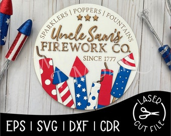 Uncle Sam's Fireworks Patriotic July Independence Day USA America Signs Laser Cut File for Glowforge Epilog Projects Laser Cutting Download