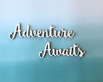 Adventure awaits, Travel phrase, adventure words, positive affirmation, collage wall decor, new beginnings, uplifting verse, travel words