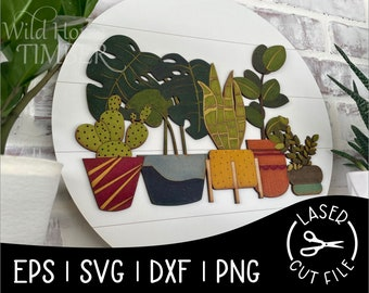 Round Plant Collection Sign Green Thumb House Plants Laser SVG Cut File for Glowforge Epilog Projects Laser Cutting Download