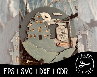 Dead and Breakfast Layered Spooky Sign Halloween Decor Laser Cut File for Glowforge Epilog Projects Laser Cutting Download