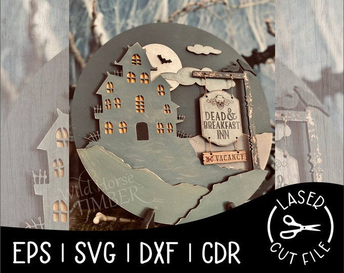 Featured listing image: Dead and Breakfast Layered Spooky Sign Halloween Decor Laser Cut File for Glowforge Epilog Projects Laser Cutting Download