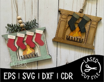 Personalized Family Stockings Layered Custom Ornament Laser SVG Cut File for Glowforge Epilog Projects Laser Cutting Download