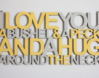 I Love You A Bushel And A Peck Connected Sign Laser Cut File for Glowforge Epilog Projects Laser Cutting Download