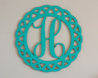 Monogram Cutout, Monogram Wreath, Round Door Hanger, Wood Initial cutout, Hello Circle cutout, Door Hanger Idea, Gallery Wall Initial