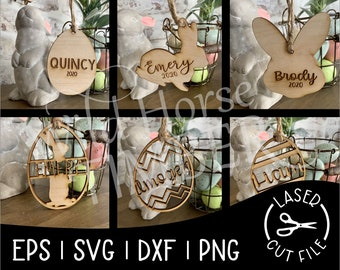 Easter Basket Tags for Kids Bunny Tags Personalized Name Tags Laser SVG Cut File for Glowforge Epilog Projects Laser Cutting Download