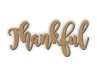 Thankful cutout, Harvest decoration, Thanksgiving deco, Wooden thankful, craft wood words, wreath embellishment, gallery wall word, Thankful
