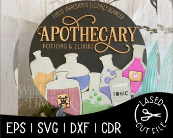 Apothecary Potion and Elixer Sign Halloween Decor Laser Cut File for Glowforge Epilog Projects Laser Cutting Download
