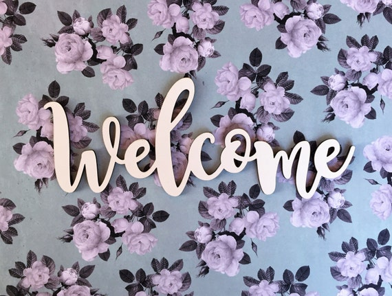 Welcome cutout wood welcome wreath embellishment door etsy image 0 m4hsunfo