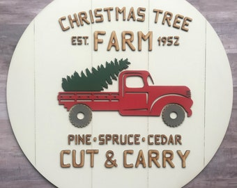 Christmas Tree Farm Round Sign Laser SVG Cut File for Glowforge Epilog Projects Laser Cutting Download
