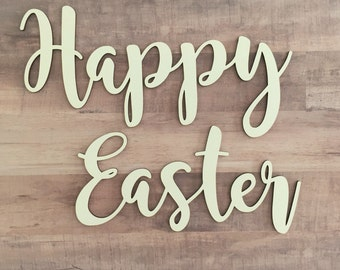 Happy Easter Cutout, Easter Greetings, Wood Easter Sign, Wreath embellishment, Easter decoration, craft Easter words, Easter Greeting