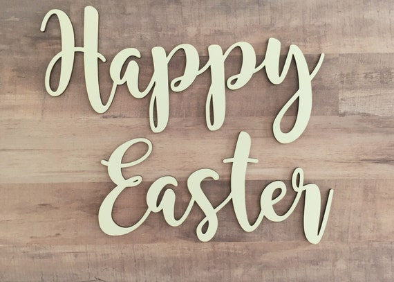 Happy easter cutout easter greetings wood easter sign wreath happy easter cutout easter greetings wood easter sign wreath embellishment easter decoration craft easter words easter greeting m4hsunfo