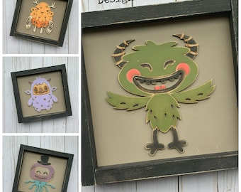 Monsters and Creatures Childrens Decor Laser Cut File for Glowforge Epilog Projects Laser Cutting Download