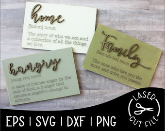 Home Hangry Coffee Family Definition Sign Laser Cut File for Glowforge Epilog Projects Laser Cutting Download