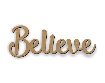 Believe Cutout, Wooden Believe, Christmas craft, Christmas wreath, Holiday craft, Craft wood words, Christmas ideas, Santa Clause believe