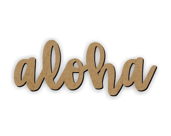 ALOHA wood cutout/Welcome Sign Door Hanger/Luau signs/luau decorations/Hawaii cutouts/paradise decoration/beach party/summer party