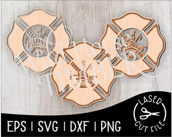 Fire Department Firefighter Badge Cutout Laser SVG Cut File for Glowforge Epilog Projects Laser Cutting Download